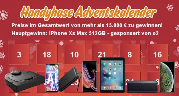 Handyhase Adventskalender 2018: Preise im Gesamtwert von mehr als 15.000 € - Hauptgewinn: Apple iPhone Xs Max 512 GB