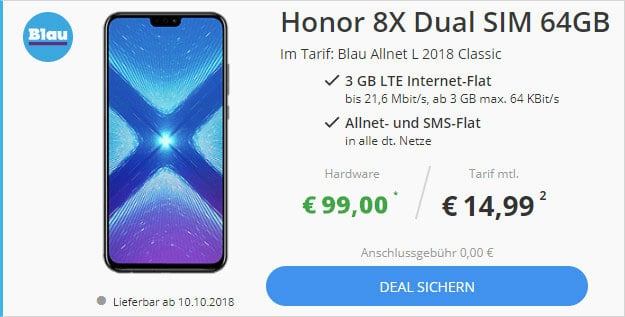 Honor 8X + Blau Allnet L