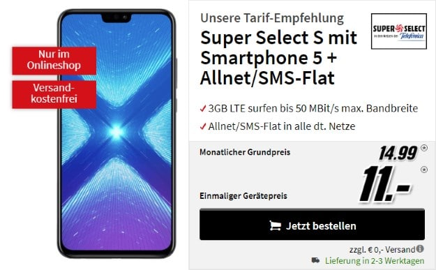 Honor 8X + o2 Super Select S bei MediaMarkt