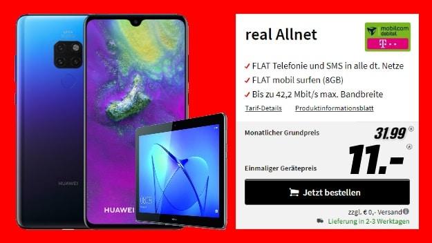 Huawei Mate 20 + Huawei MediaPad T3 9.6 WiFi + mobilcom-debitel real Allnet (Telekom-Netz) bei MediaMarkt