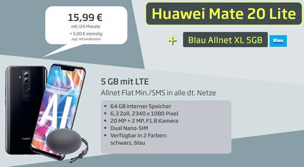 Huawei Mate 20 lite + Huawei SoundStone CM51 + Blau Allnet XL bei Curved