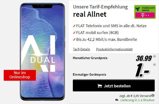 Huawei Mate 20 Pro + mobilcom-debitel real Allnet (Telekom-Netz) bei MediaMarkt
