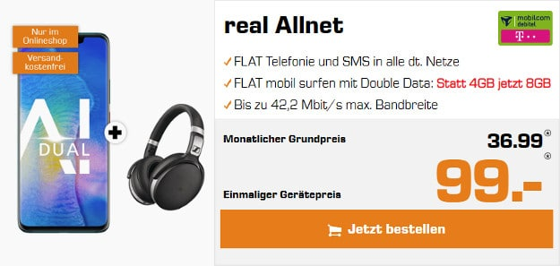 Huawei Mate 20 Pro + Sennheiser HD 4.50 BTNC + mobilcom-debitel real Allnet (Telekom-Netz) bei Saturn