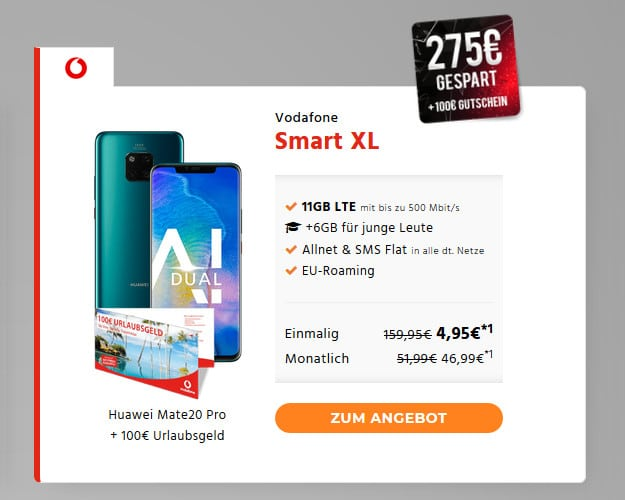 Huawei Mate 20 Pro + Vodafone Smart XL