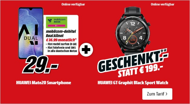 Huawei Mate 20 + Huawei Watch GT + md real Allnet Telekom-Netz