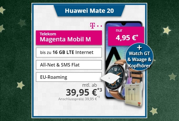 Huawei Mate 20 + Zubehörpaket + Telekom Magenta Mobil M bei Tophandy