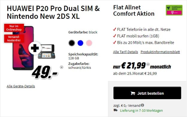 Huawei P20 Pro+ Nintendo New 2DS XL + mobilcom-debitel Flat Allnet Comfort (Telekom-Netz) bei MediaMarkt