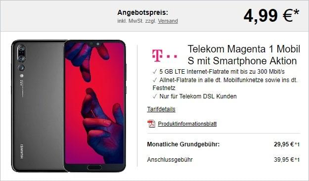 Huawei P20 Pro + Telekom Magenta Mobil S mit MagentaEINS-Vorteil bei LogiTel