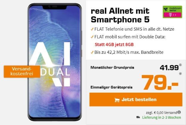 Huawei Mate 20 Pro + mobilcom-debitel real Allnet (Telekom-Netz) bei Saturn
