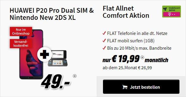 huawei p20 pro + nintendo 2ds xl + telekom flat allnet comfort md