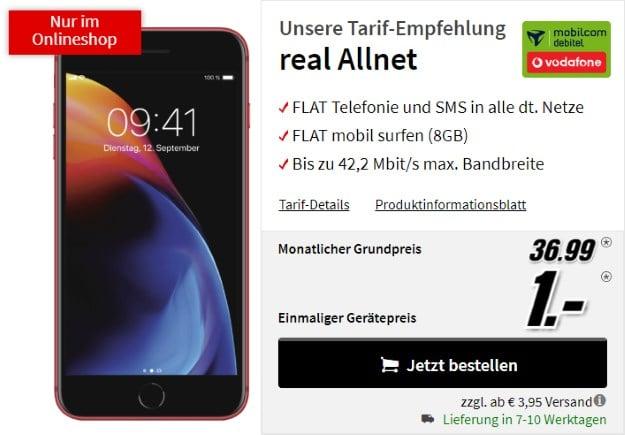 Apple iPhone 8 Plus Edition Red + Vodafone real Allnet (mobilcom-debitel) bei MediaMarkt