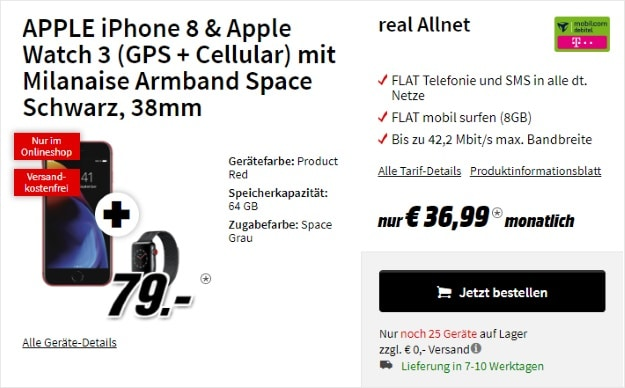 Apple iPhone 8 Edition Red + Apple Watch Series 3 LTE Milanaise + mobilcom-debitel real Allnet (Telekom-Netz) bei MediaMarkt