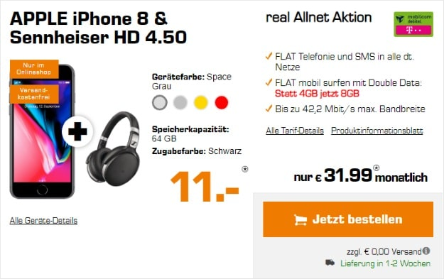 Apple iPhone 8 + Sennheiser HD 4.50 BTNC + mobilcom-debitel real Allnet (Telekom-Netz) bei Saturn