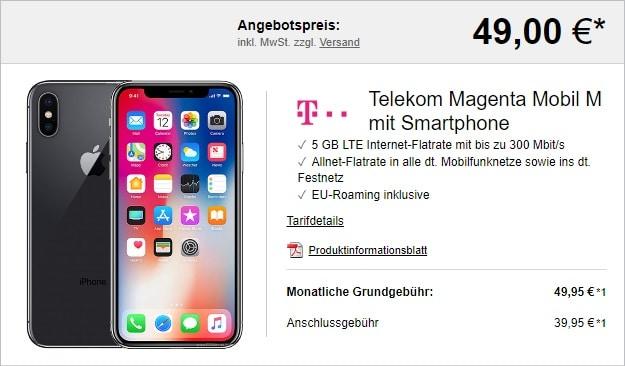 Apple iPhone X 64GB + Telekom Magenta Mobil M bei LogiTel