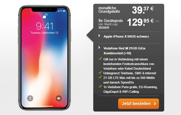 iphone x + vodafone red m gigakombi