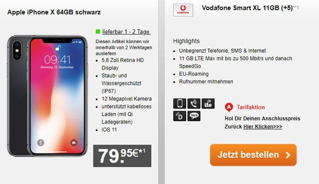 iPhone X 64GB + Vodafone Smart XL