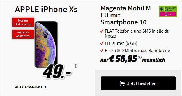 iPhone Xs + md Telekom Magenta Mobil M