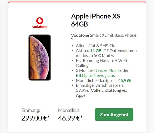 Apple iPhone Xs mit Vodafone Smart XL