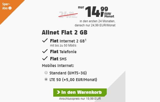 klarmobil allnet flat telekom 2 gb lte