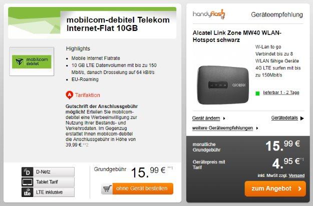 Alcatel LinkZone LTE-Hotspot + mobilcom-debitel Internet.-Flat 10.000 (Telekom-Netz) bei Handyflash
