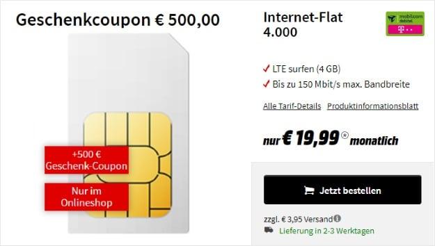 mobilcom-debitel Internet-Flat 4.000 (Telekom-Netz) + 500 € Gutschein bei MediaMarkt