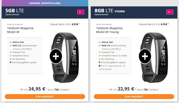 mobilcom-debitel Telekom Magenta Mobil M + Huawei Band 2 Pro bei Handyflash