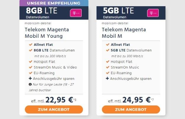 mobilcom-debitel Telekom Magenta Mobil M bei Handyflash