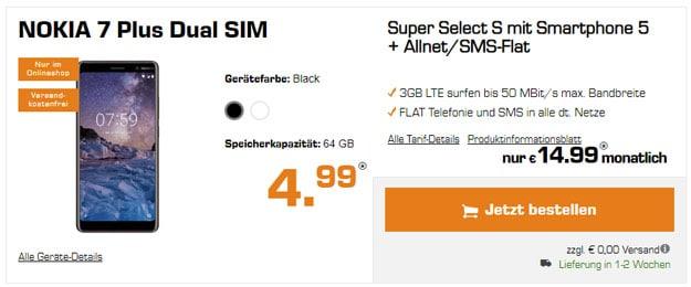 Nokia 7 Plus mit o2 Super Select S, Allnet-Flat mit 3 GB LTE