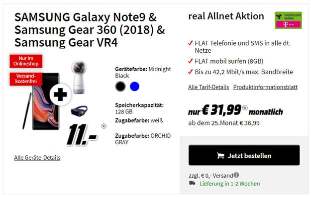 Samsung Galaxy Note 9 + md real Allnet (Telekom-Netz)
