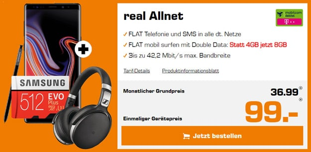 Samsung Galaxy Note 9 + md real Allnet (Telekom-Netz)