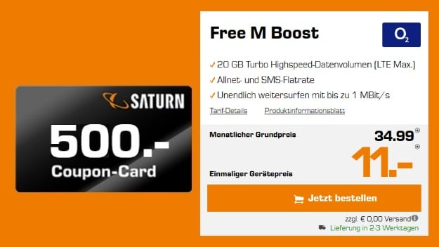 o2 Free M Boost (SIM-only) + 500 € Saturn-Gutschein bei Saturn