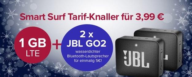 Telefónica Smart Surf (md) für eff. 1,78 € mtl. (50 min & SMS, 1 GB LTE) inkl. JBL GO2 - für nur 3,99 € Grundgebühr!
