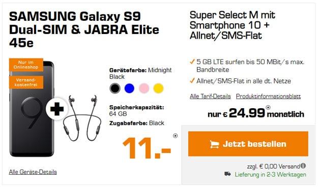 Galaxy S9 mit Jabra Elite zu o2 Super Select M