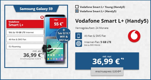 samsung galaxy s9 + tab s2 wifi + vodafone smart l plus