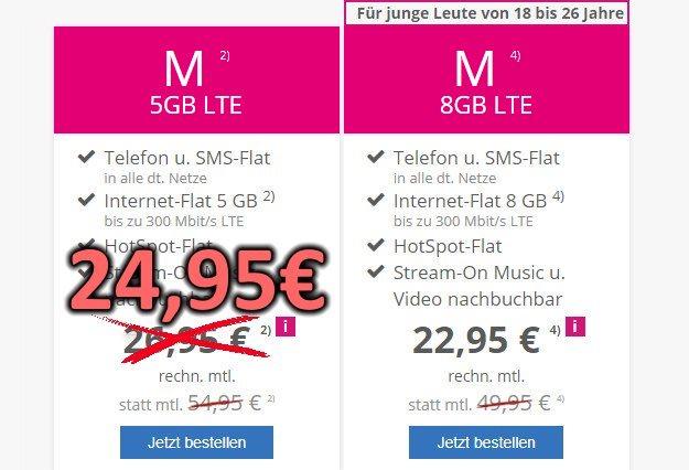 mobilcom-debitel Telekom Magenta Mobil M / M Young ab eff. 22,95 € im Monat (Allnet- & SMS-Flat, bis 8 GB LTE)
