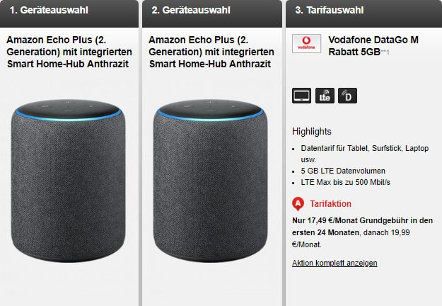 amazon echo plus + data go m vodafone