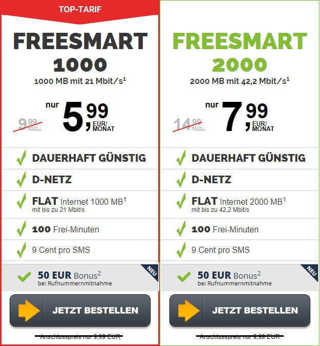 freesmart 1000 und 2000 ohne anschlusspreis