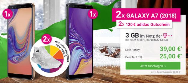 2x Samsung Galaxy A7 (2018) + congstar Allnet-Flat bei DeinHandy