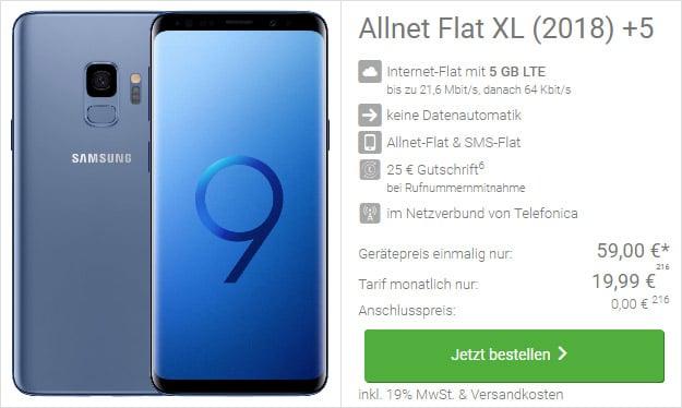 Samsung Galaxy S9 Blau Allnet Xl Für Eff 203 Pro Monat