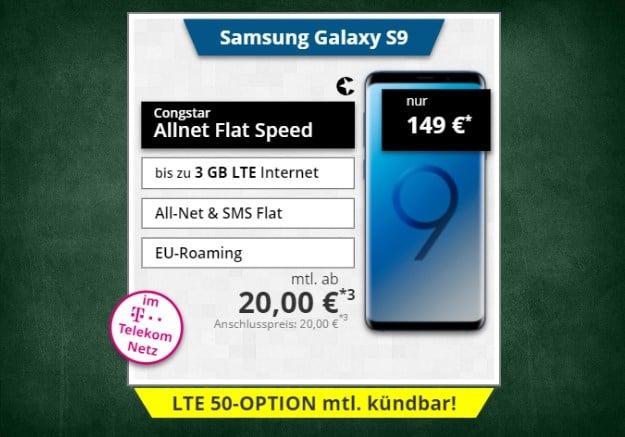 Samsung Galaxy S9 + congstar Allnet-Flat Speed bei Tophandy