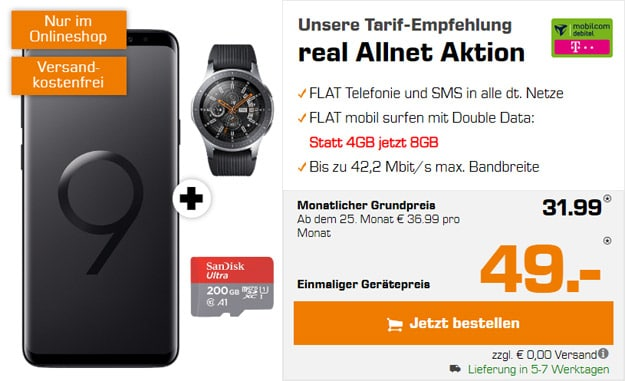 us + Samsung Galaxy Watch (46mm) + mobilcom-debitel real Allnet (Telekom-Netz) bei Saturn