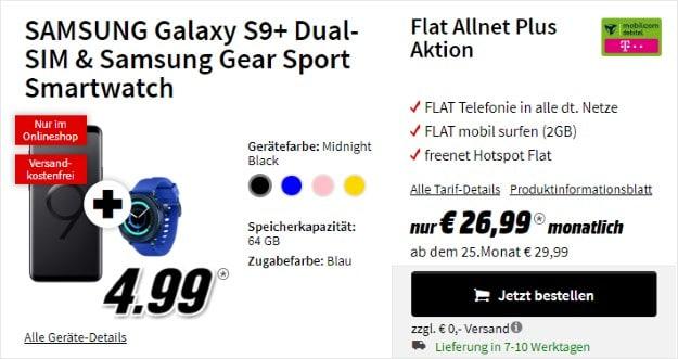Samsung Galaxy S9 Plus + Samsung Gear Sport + mobilcom-debitel Flat Allnet Plus (Telekom-Netz) bei MediaMarkt