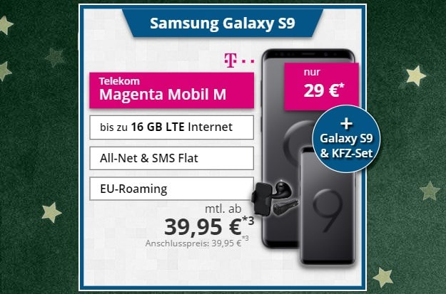 2x Samsung Galaxy S9 + Samsung Kfz Summerpack + Telekom Magenta Mobil M bei Tophandy