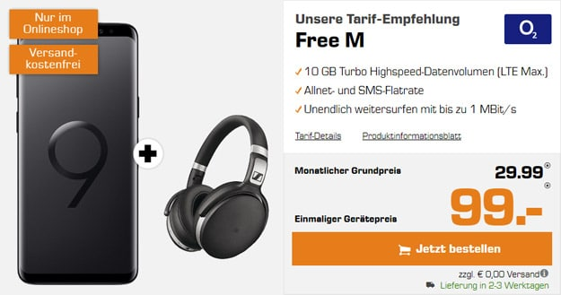 Samsung Galaxy S9 + Sennheiser HD 4.50 BTNC + o2 Free M bei Saturn