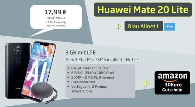 Huawei Mate 20 lite + Huawei SoundStone CM51 + 30 € Amazon-Gutschein + Blau Allnet L bei Curved