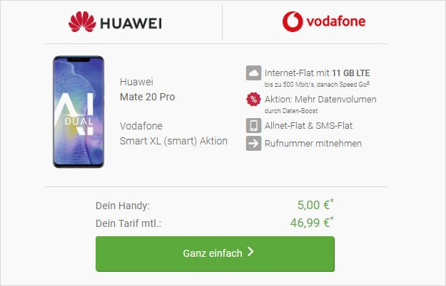 huawei mate 20 pro + vodafone smart xl xl young