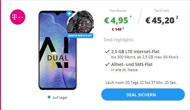 Huawei Mate 20 + Huawei Watch GT + Telekom Magenta Mobil S bei Sparhandy