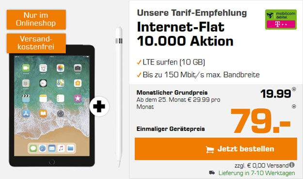 Apple iPad 2018 LTE 32GB + Apple Pencil + mobilcom-debitel Internet-Flat 10.000 (Telekom-Netz) bei Saturn