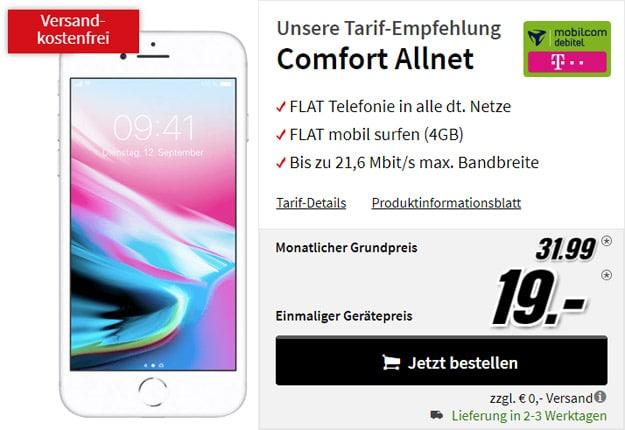 Apple iPhone 8 64GB + mobilcom-debitel Comfort Allnet (Telekom-Netz) bei MediaMarkt