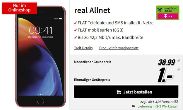 Apple iPhone 8 Plus Edition Red + mobilcom-debitel real Allnet (Telekom-Netz) bei MediaMarkt